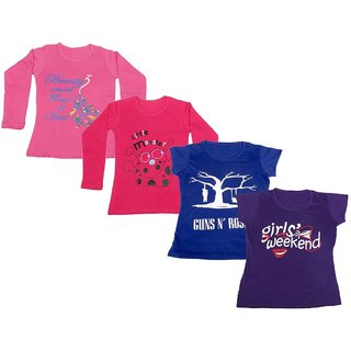 IndiWeaves Girls 2 Cotton Full Sleeves and 2 Half Sleeves Printed T-Shirt (Pack of 4)_Pink::Red::Blue::Purple_Size: 6-7 Year