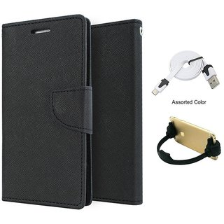Mercury Wallet Flip case Cover For MOTO X PLAY  (BLACK) With Micro Usb Flat Cable + Ok mobile Stand