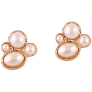 Fabula's Gold & White Pearl Ear Stud Earring for Women, Girls & Ladies