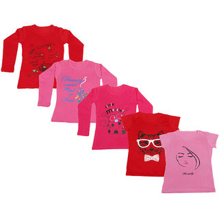 IndiWeaves Girls 3 Cotton Full Sleeves and 2 Half Sleeves Printed T-Shirt (Pack of 5)_Red::Red::Pink::Red::Pink_Size: 6-7 Year