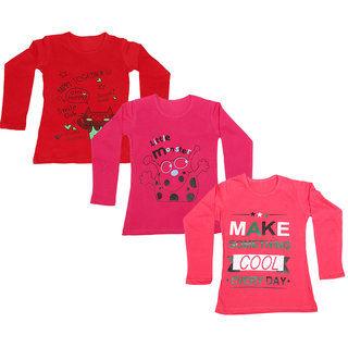 IndiWeaves Girls Cotton Full Sleeve Printed T-Shirt (Pack of 3)_Red::Red::Red_Size: 6-7 Year