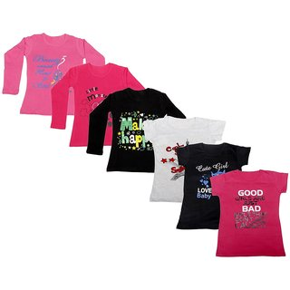 Indistar Girls Cotton Full Sleeves Printed T-Shirt (Pack of 4)_Pink::Black::Red::Grey::Black::Pink_Size: 6-7 Year