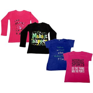 IndiWeaves Girls 2 Cotton Full Sleeves and 2 Half Sleeves Printed T-Shirt (Pack of 4)_Red::Black::Blue::Pink_Size: 6-7 Year