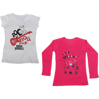 IndiWeaves Girls Cotton 1 Full Sleeves Printed T-Shirt and 1 Half Sleeves T-Shirt (Pack of 2)_Red::White_Size: 8-9 Year