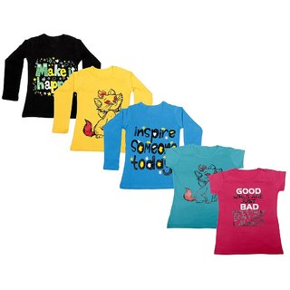 IndiWeaves Girls 3 Cotton Full Sleeves and 2 Half Sleeves Printed T-Shirt (Pack of 5)_Black::Blue::Yellow::Blue::Pink_Size: 6-7 Year
