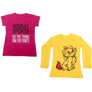 Indistar Girls Cotton 1 Full Sleeves Printed T-Shirt and 1 Half Sleeves T-Shirt (Pack of 2)_Yellow::Pink_Size: 8-9 Year