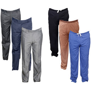 IndiWeaves Mens 3 Rayon Formal Trousers and 3 Lower/Track Pants Combo Offer (Pack of 6)_Gray::Brown::Blue::Gray::Gray::Gray_Size: 38 Lower- Free Size