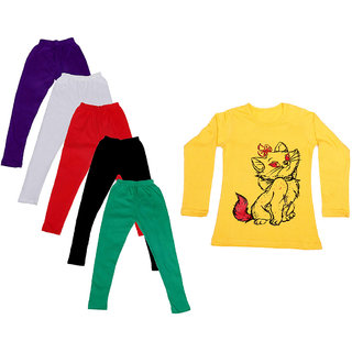 IndiWeaves Girls Cotton Full Sleeves Printed T-Shirt and Cotton Legging (Pack of 6)_Purple::White::Black::Red::Green::Yellow_Size: 6-7 Year