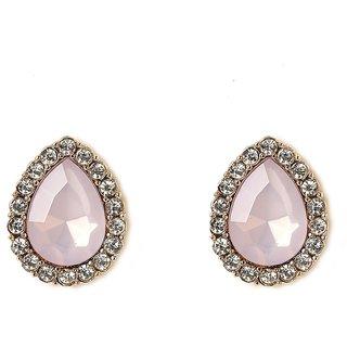OOMPH's Gold, White & Lavendar Crystal Fashion Jewellery Ear Stud Earrings for Women, Girls & Ladies