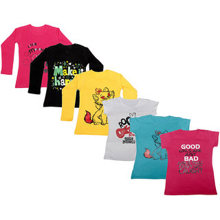 Indistar Girls Cotton Full Sleeves Printed T-Shirt (Pack of 4)_Red::Yellow::Black::White::Blue::Pink_Size: 6-7 Year