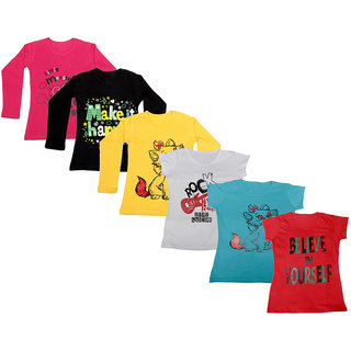Indistar Girls Cotton Full Sleeves Printed T-Shirt (Pack of 4)_Red::Yellow::Black::White::Blue::Red_Size: 6-7 Year