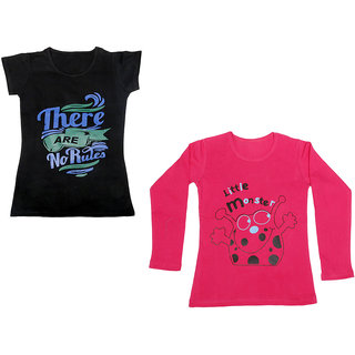 IndiWeaves Girls Cotton 1 Full Sleeves Printed T-Shirt and 1 Half Sleeves T-Shirt (Pack of 2)_Red::Black_Size: 8-9 Year
