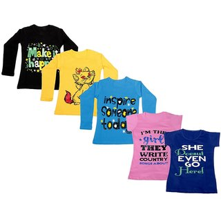 IndiWeaves Girls 3 Cotton Full Sleeves and 2 Half Sleeves Printed T-Shirt (Pack of 5)_Black::Blue::Yellow: :Pink::Blue_Size: 6-7 Year