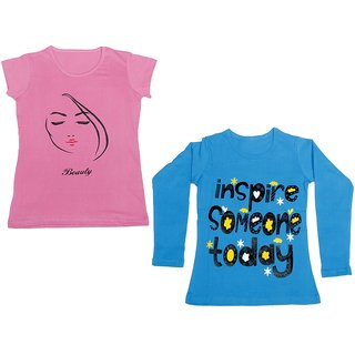 Indistar Girls Cotton 1 Full Sleeves Printed T-Shirt and 1 Half Sleeves T-Shirt (Pack of 2)_Blue::Pink_Size: 8-9 Year