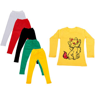 IndiWeaves Girls Cotton Full Sleeves Printed T-Shirt and Cotton Legging (Pack of 6)_White::Red::Green::Black::Yellow::Yellow_Size: 6-7 Year