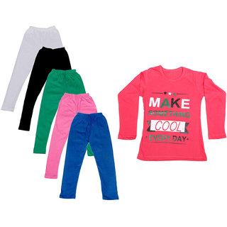 IndiWeaves Girls Cotton Full Sleeves Printed T-Shirt and Cotton Legging (Pack of 6)_White::Black::Pink::Green::Blue::Red_Size: 6-7 Year