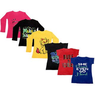 Indistar Girls Cotton Full Sleeves Printed T-Shirt (Pack of 4)_Red::Yellow::Black::Black::Red::Blue_Size: 6-7 Year