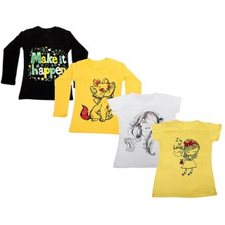 IndiWeaves Girls 2 Cotton Full Sleeves and 2 Half Sleeves Printed T-Shirt (Pack of 4)_Black::Yellow::White::Yellow_Size: 6-7 Year