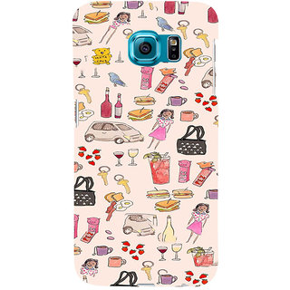 ifasho Modern Art Design Pattern girl shop car food bird Back Case Cover for Samsung Galaxy S6 Edge Plus