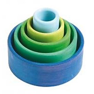 Grimms Set of 5 Small Wooden Stacking & Nesting Rainbow Bowls, Ocean Blue