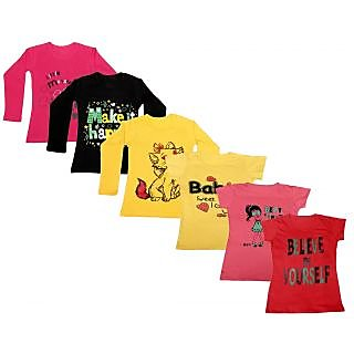 Indistar Girls Cotton Full Sleeves Printed T-Shirt (Pack of 4)_Red::Yellow::Black::Yellow::Pink::Red_Size: 6-7 Year