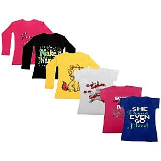 Indistar Girls Cotton Full Sleeves Printed T-Shirt (Pack of 4)_Red::Yellow::Black::Grey::Pink::Blue_Size: 6-7 Year