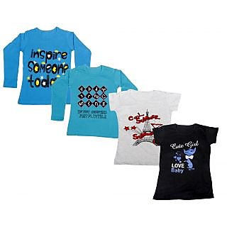 Indistar Girls 2 Cotton Full Sleeves and 2 Half Sleeves Printed T-Shirt (Pack of 4)_Blue::Blue::Grey::Black_Size: 6-7 Year