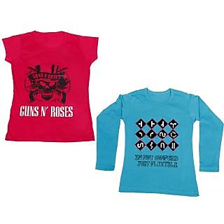 Indistar Girls Cotton 1 Full Sleeves Printed T-Shirt and 1 Half Sleeves T-Shirt (Pack of 2)_Blue::Red_Size: 8-9 Year