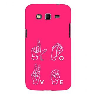 ifasho Animated Pattern With Love alphabets in finger Back Case Cover for Samsung Galaxy Grand