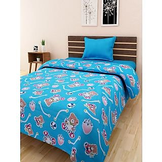 Blue Baby Theme Cotton Single Bed Sheet