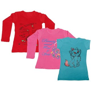 Indistar Girls 2 Cotton Full Sleeves and 1 Half Sleeves Printed T-Shirt (Pack of 3)_Red::Pink::Blue_Size: 6-7 Year