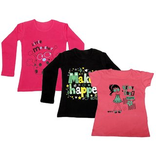 Indistar Girls 2 Cotton Full Sleeves and 1 Half Sleeves Printed T-Shirt (Pack of 3)_Red::Black::Pink_Size: 6-7 Year