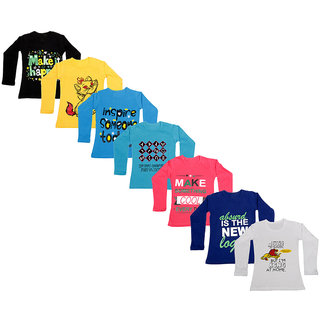 IndiWeaves Girls Cotton Full Sleeve Printed T-Shirt (Pack of 7)_Black::white::Purple::Red::Blue::Blue::Yellow_Size: 6-7 Year