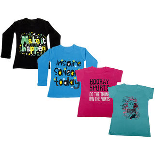 IndiWeaves Girls 2 Cotton Full Sleeves and 2 Half Sleeves Printed T-Shirt (Pack of 4)_Black::Blue::Pink::Blue_Size: 6-7 Year