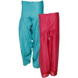 Indistar Women's Premium Cotton 1  Full Patiala Salwar  1  Chaudi Lace Semi-Patiala Salwar (Pack of 2 Salwar)