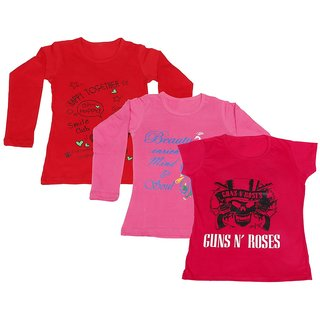 Indistar Girls 2 Cotton Full Sleeves and 1 Half Sleeves Printed T-Shirt (Pack of 3)_Red::Pink::Red_Size: 6-7 Year
