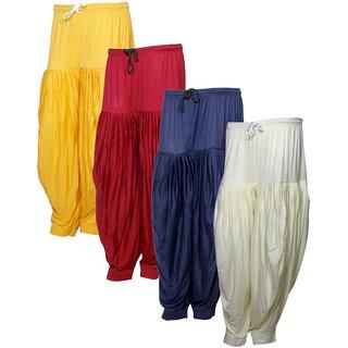 IndiWeaves Women's Premium Cotton 4 Full Patiala Salwar (Pack of 4)