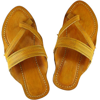 Attractive cross belt, light yellow kolhapuri leather sandal for men