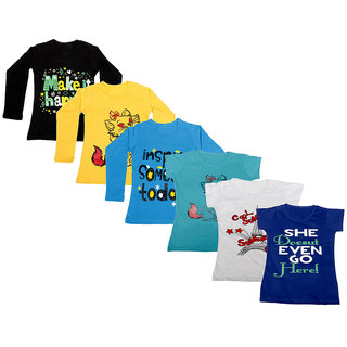 Indistar Girls Cotton Full Sleeves Printed T-Shirt (Pack of 4)_Black::Blue::Yellow::Blue::Grey::Blue_Size: 6-7 Year