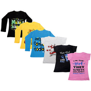 Indistar Girls Cotton Full Sleeves Printed T-Shirt (Pack of 4)_Black::Blue::Yellow::Grey::Black::Pink_Size: 6-7 Year