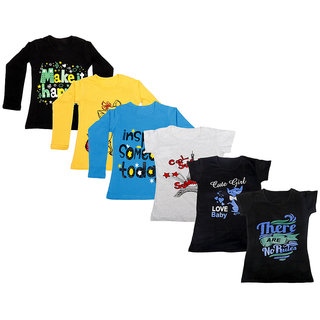 Indistar Girls Cotton Full Sleeves Printed T-Shirt (Pack of 4)_Black::Blue::Yellow::Grey::Black::Black_Size: 6-7 Year