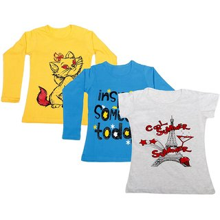 Indistar Girls 2 Cotton Full Sleeves and 1 Half Sleeves Printed T-Shirt (Pack of 3)_Yellow::Blue::Grey_Size: 6-7 Year