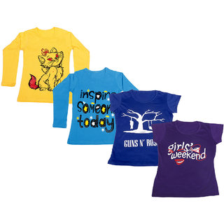 IndiWeaves Girls 2 Cotton Full Sleeves and 2 Half Sleeves Printed T-Shirt (Pack of 4)_Yellow::Blue::Blue::Purple_Size: 6-7 Year