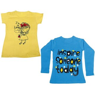 IndiWeaves Girls Cotton 1 Full Sleeves Printed T-Shirt and 1 Half Sleeves T-Shirt (Pack of 2)_Blue::Yellow_Size: 8-9 Year