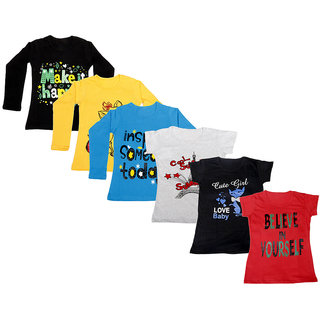 Indistar Girls Cotton Full Sleeves Printed T-Shirt (Pack of 4)_Black::Blue::Yellow::Grey::Black::Red_Size: 6-7 Year