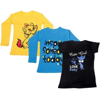 Indistar Girls 2 Cotton Full Sleeves and 1 Half Sleeves Printed T-Shirt (Pack of 3)_Yellow::Blue::Black_Size: 6-7 Year