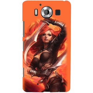 ifasho Girl with blade animated Back Case Cover for Nokia Lumia 950