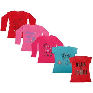 Indistar Girls 3 Cotton Full Sleeves and 2 Half Sleeves Printed T-Shirt (Pack of 5)_Red::Red::Pink::Blue::Red_Size: 6-7 Year