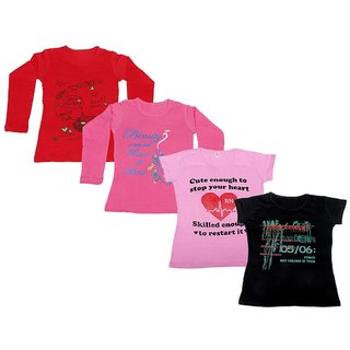 Indistar Girls 2 Cotton Full Sleeves and 2 Half Sleeves Printed T-Shirt (Pack of 4)_Red::Pink::Pink::Black_Size: 6-7 Year