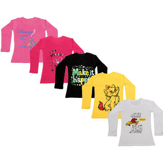 IndiWeaves Girls Cotton Full Sleeve Printed T-Shirt (Pack of 5)_Pink::white::Yellow::Black::Red_Size: 6-7 Year
